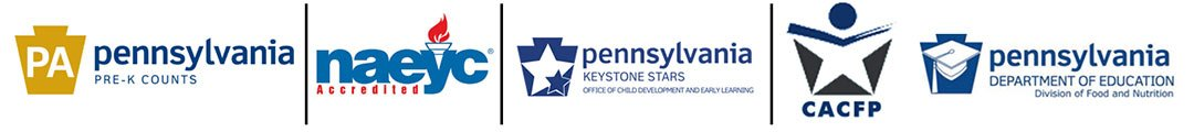 logos for the Pennsylvania Department of Human Services, Department of Private Schools, the National Association for the Education of Young Children (NAEYC), Keystone STARS program Level 4, and Pre-K Counts.
