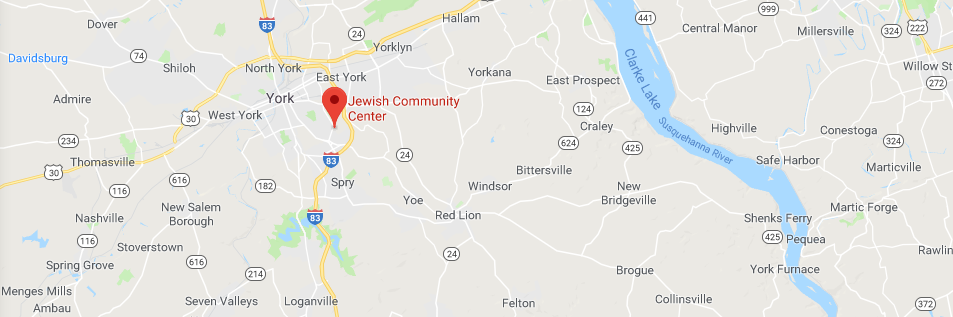 Google Map image of Central York County with a dropped pin of the York Jewish Community Center's location.