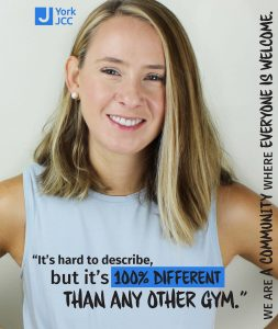 "Portrait photo of young female-presenting person smiling with the quote ""It's hard to describe, but it's 100% different than any other gym."" in regards to the JCC"