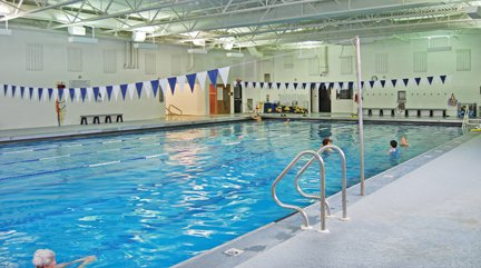 Wide, detailed photo of the 6-lane pool at the York JCC.