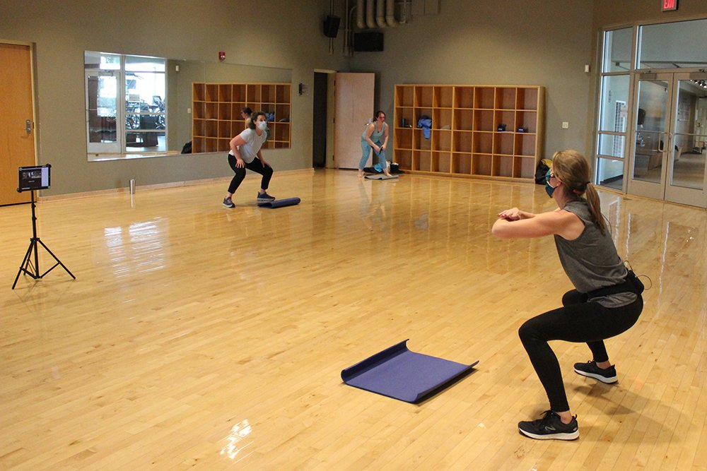A group fitness class in studio 2.